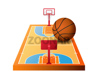 3d basketball court with hoops and orange ball
