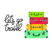 Lettering let's go travel and colored suitcases