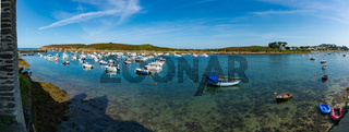 the old harbor and port of La Conquet on the Brittany coast in France
