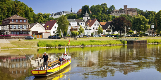 Weser ferry Herstelle - Wuergassen, Beverungen, North Rhine-Westphalia, Germany, Europe