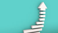 Success arrow with stairs, computer generated. 3d rendering of concept of successful business, professional growth, career achievements