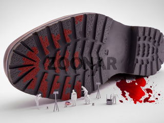 Spurensicherung untersucht Schuhprofil