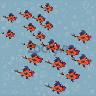 a surprised flock of goldfish with purple fins on a background of blue water and bubbles
