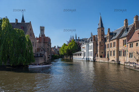 Bruges old town and Rozenhoedkaai canal in Bruges, Belgium