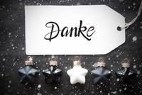 Black Christmas Ball, Label, Danke Means Thank You, Snowflakes