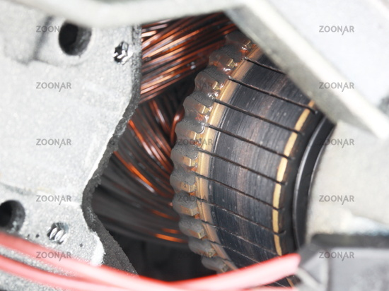 Partial view of commutator and coil of an electric motor