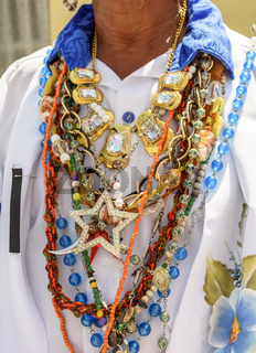 Neklaces used by man during traditional religious celebration in Brazil