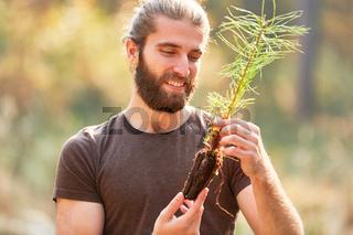 Förster freut sich beim Anpflanzen von Setzling
