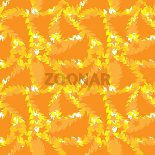 Seamless multilayer pattern of yellow and orange New Year and Christmas trees