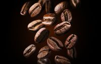 Roasted falling or flying coffee beans on black background, close up, brown texture