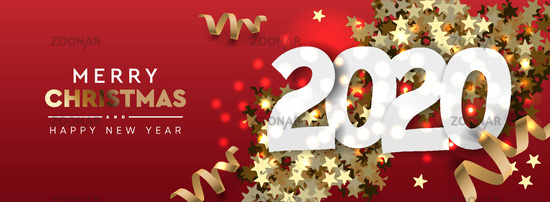 2020 Happy New Year background. Merry Christmas horizontal banner. Vector illustration.