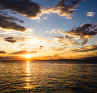 Summer sunset on the Adriatic sea cost