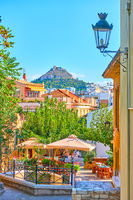 Street in Plaka district in the old town of Athens