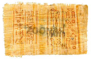 Egyptian papyrus with hieroglyphs, manuscript from The Karnak temple, Luxor, Egypt.