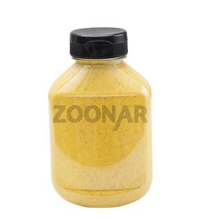 Horseradish Mustard bottle on white background