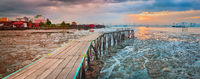 Sunrise at Penang. Yeoh jetty on the foreground , Malaysia. Panorama