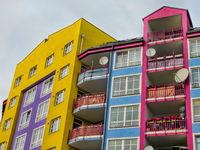 colored social housing in berlin westend, germany