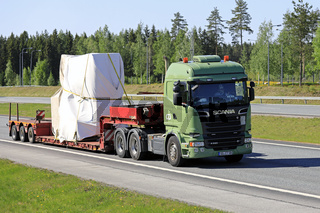 Green Scania Semi Trailer Special Transport on Road
