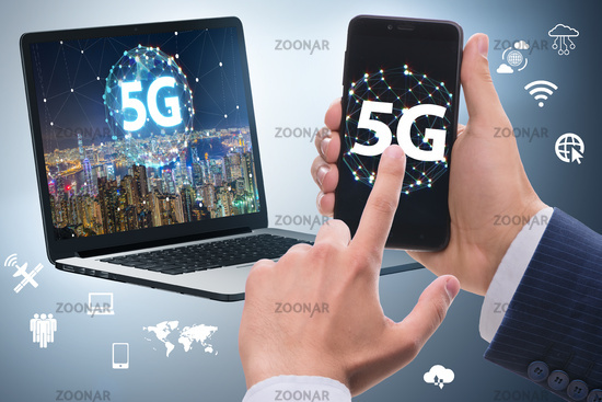 5G mobile technology concept - high internet speed