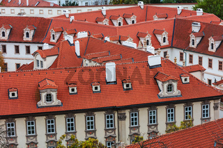 tile roofs of the old city. Prague.