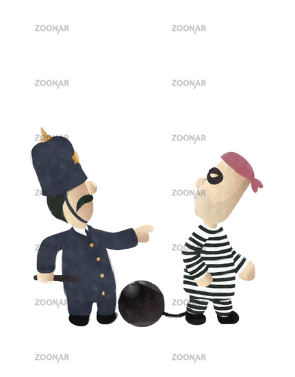 Watercolor cop  and convict