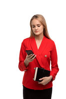 Young business woman in red costume isolated shot