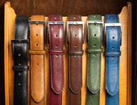 Different colored leather belts