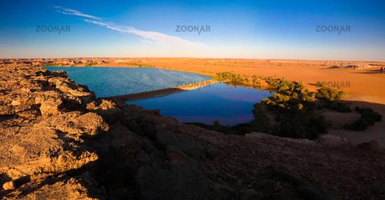Sunset aerial Panoramic view to Yoa lake group of Ounianga kebir lakes at the Ennedi, Chad