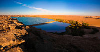 Sunset aerial Panoramic view to Yoa lake group of Ounianga kebir lakes at the Ennedi, Chad