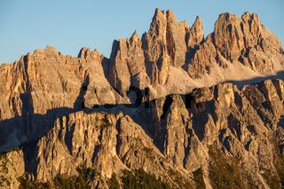 Rocky mountain peaks of Croda da Lago in the Dolomites