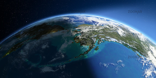 Detailed Earth. Chukotka, Alaska and the Bering Strait