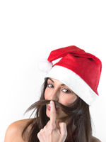 Smiling woman with hat of Santa Claus
