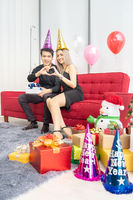 couple celebrate new year portrait