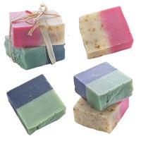 Handmade Natural Soap Bars on White background