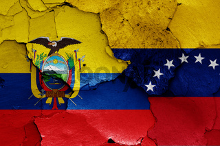 flags of Ecuador and Venezuela painted on cracked wall