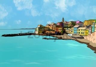 Hand drawing Bogliasco village in Italy