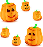 Set of halloween pumpkins with variations of illumination, part 20