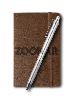 Dark Leather closed notebook and pen isolated on white