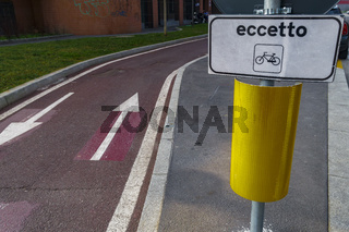 Milan, Italy bikeway urban transport sign.