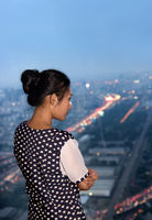 woman watching the view from skyscraper