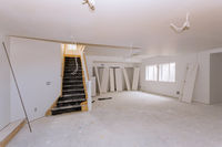 Room interior with new house for the under construction