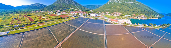 Town of Ston bay and salt fields aerial panoramic view