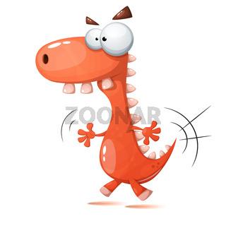 Funny, cute, crazy dinosaur illustration.