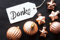 One Label, Golden Christmas Decoration, Danke Means Thank You