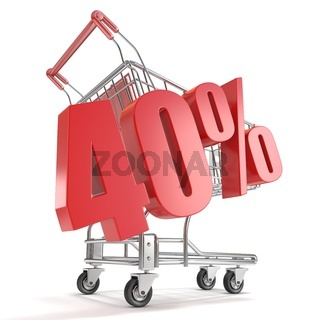 40% - forty percent discount in front of shopping cart. Sale concept. 3D