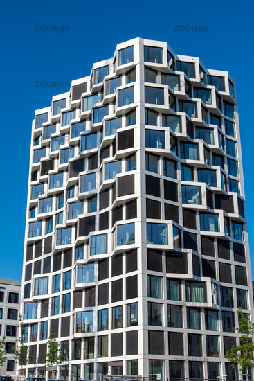 Modern high-rise residential building seen in Munich, Germany