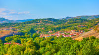 Panoramic rural landscape with village in Thessaly
