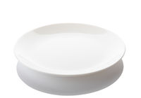 Isolated empty white plate on white background