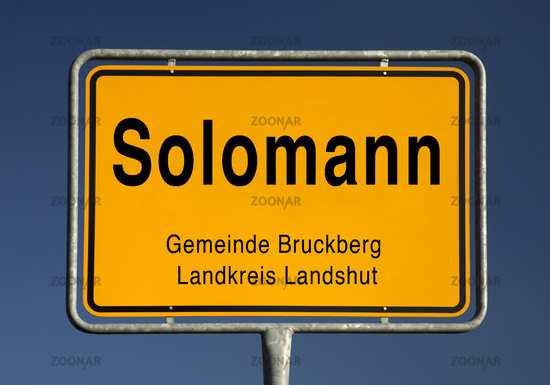 Town entrance sign of Solomann, district of the municipality Bruckberg, Bavaria, Germany, Europe
