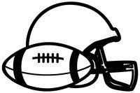 American football ball and protective helmet black